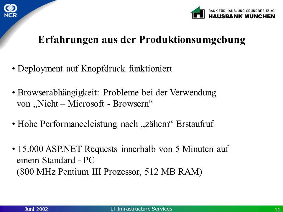 Juni 2002 IT Infrastructure Services 11 Erfahrungen aus der Produktionsumgebung Deployment auf Knopfdruck funktioniert Browserabhängigkeit: Probleme b