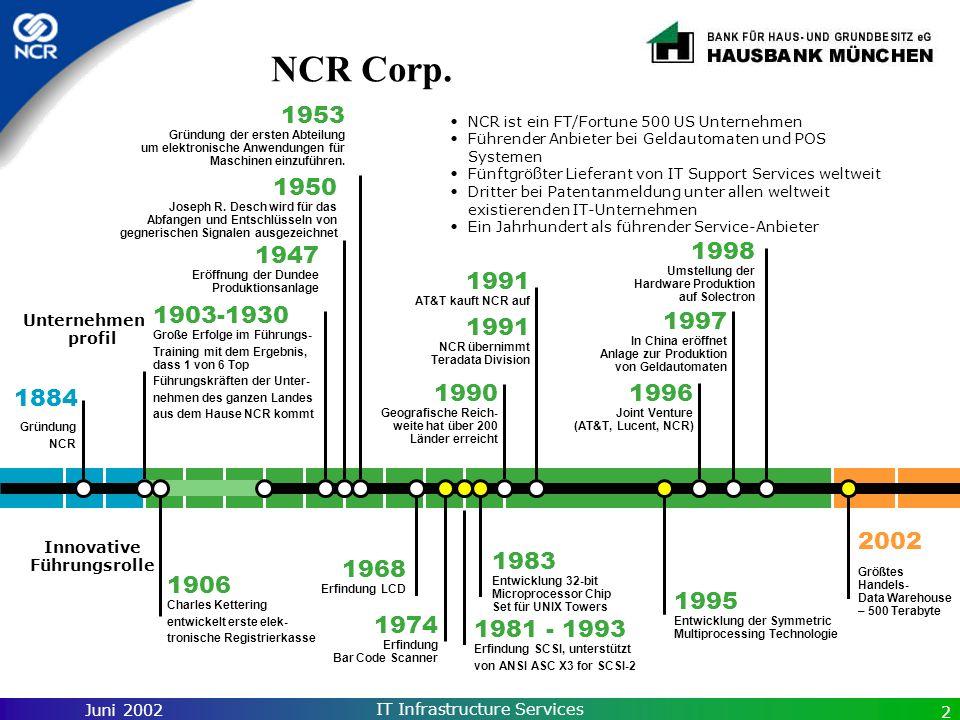 Juni 2002 IT Infrastructure Services 2 NCR Corp. 1981 - 1993 Erfindung SCSI, unterstützt von ANSI ASC X3 for SCSI-2 1998 Umstellung der Hardware Produ