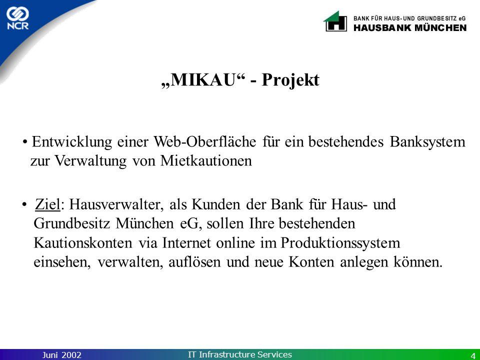 Juni 2002 IT Infrastructure Services 4 MIKAU - Projekt Entwicklung einer Web-Oberfläche für ein bestehendes Banksystem zur Verwaltung von Mietkautione