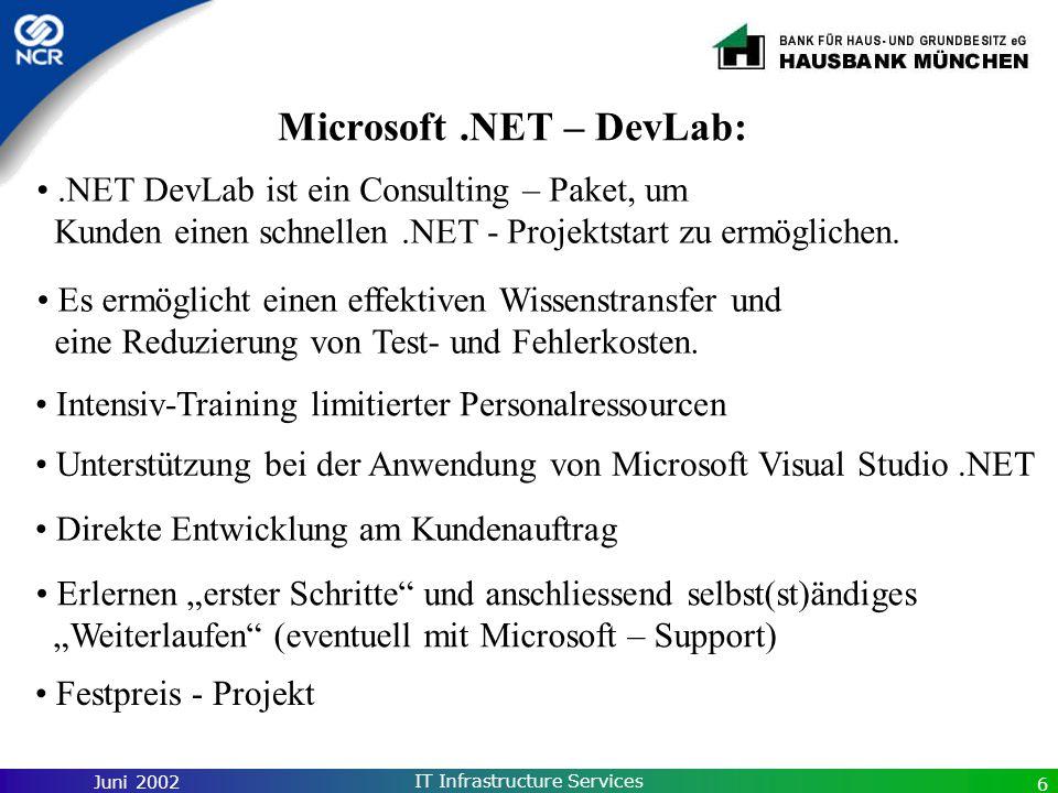 Juni 2002 IT Infrastructure Services 6 Microsoft.NET – DevLab: Unterstützung bei der Anwendung von Microsoft Visual Studio.NET Intensiv-Training limit