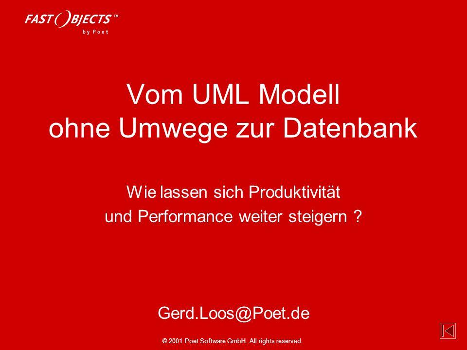 © 2001 Poet Software GmbH. All rights reserved. Gerd.Loos@Poet.de Vom UML Modell ohne Umwege zur Datenbank Wie lassen sich Produktivität und Performan
