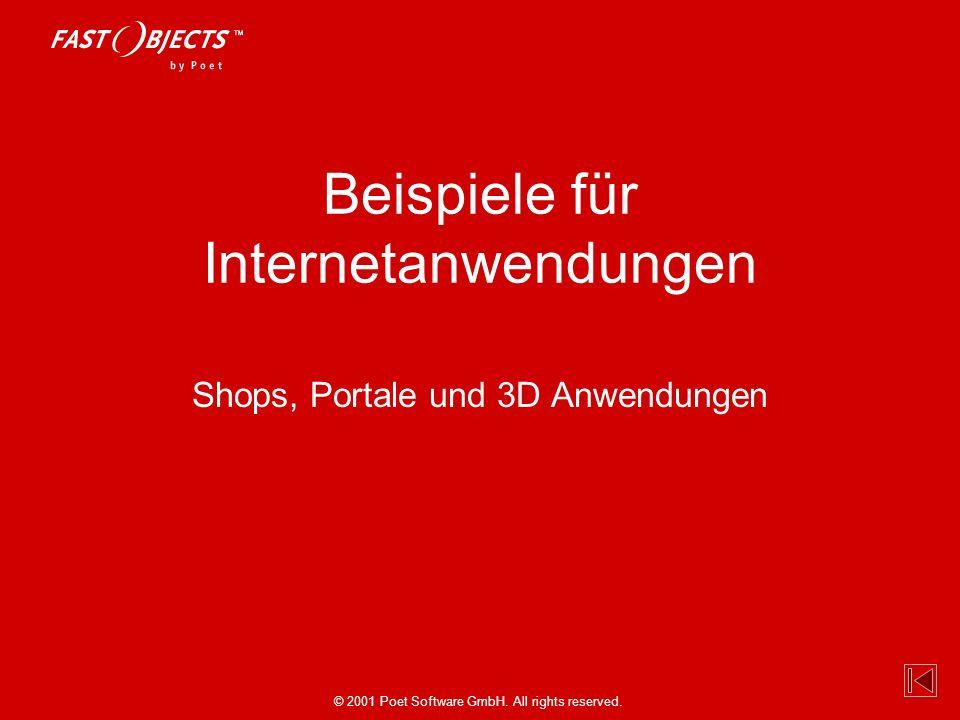 © 2001 Poet Software GmbH. All rights reserved. Beispiele für Internetanwendungen Shops, Portale und 3D Anwendungen