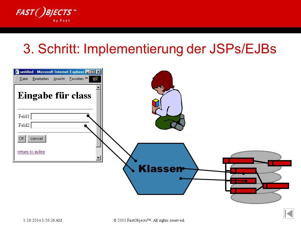 © 2001 FastObjects. All rights reserved. 1/26/2014 3:56:55 AM 3. Schritt: Implementierung der JSPs/EJBs Klassen