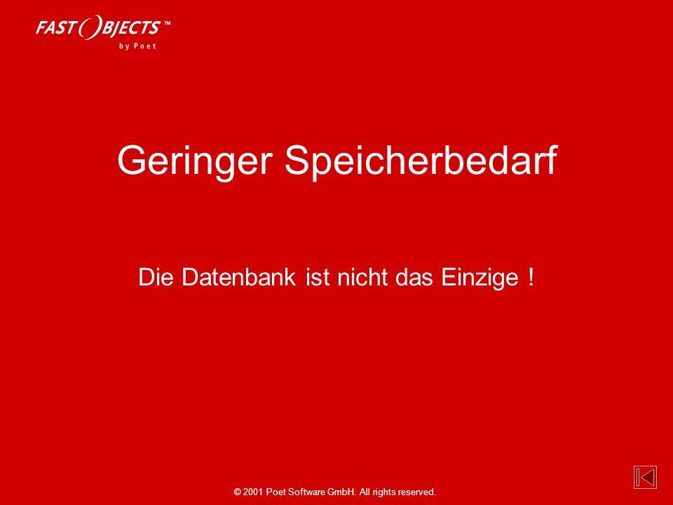 © 2001 Poet Software GmbH. All rights reserved. Geringer Speicherbedarf Die Datenbank ist nicht das Einzige !