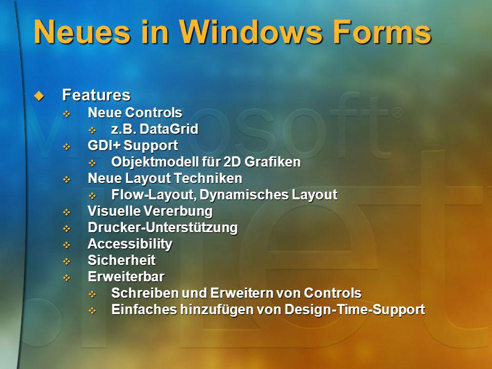 Neues in Windows Forms Features Features Neue Controls Neue Controls z.B. DataGrid z.B. DataGrid GDI+ Support GDI+ Support Objektmodell für 2D Grafike