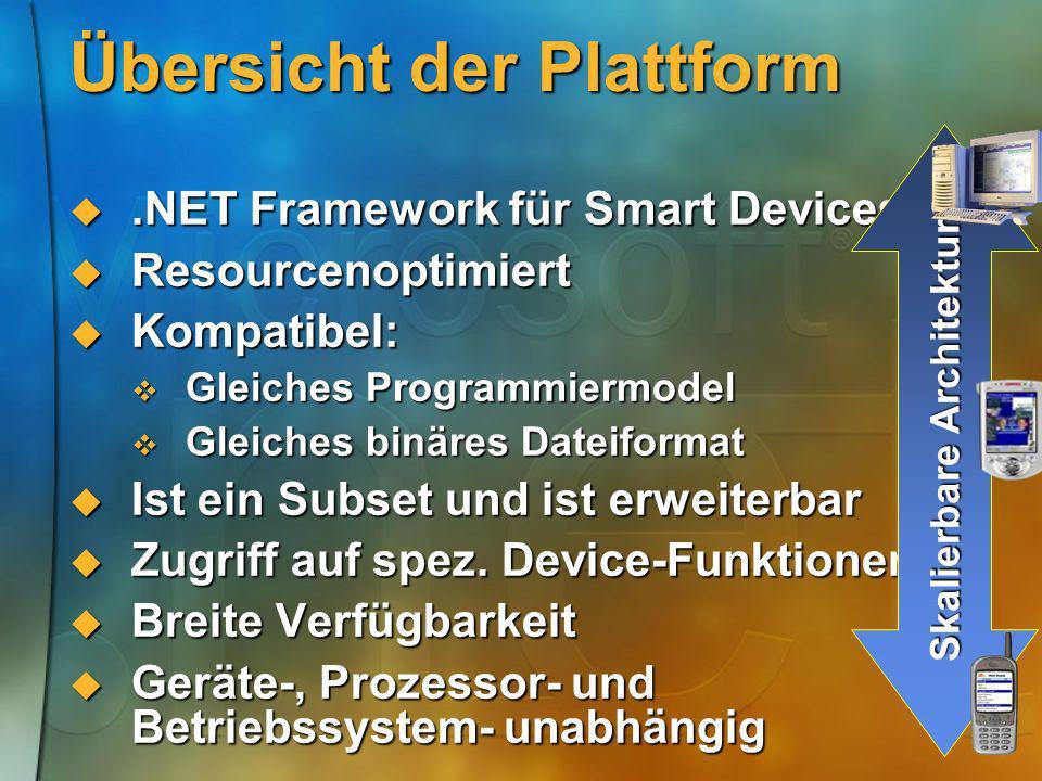Übersicht der Plattform.NET Framework für Smart Devices.NET Framework für Smart Devices Resourcenoptimiert Resourcenoptimiert Kompatibel: Kompatibel: