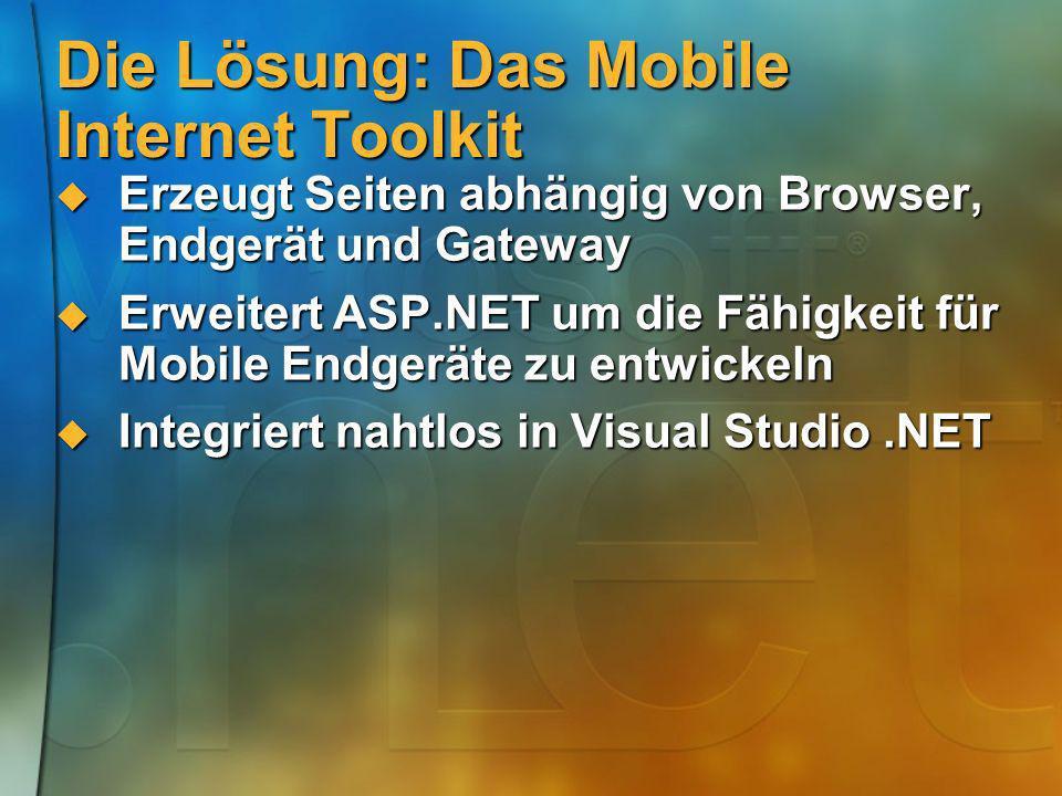 Die Lösung: Das Mobile Internet Toolkit Erzeugt Seiten abhängig von Browser, Endgerät und Gateway Erzeugt Seiten abhängig von Browser, Endgerät und Ga