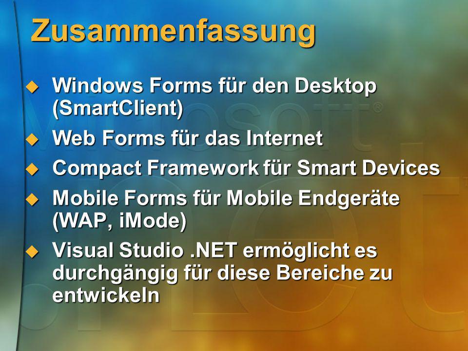 Zusammenfassung Windows Forms für den Desktop (SmartClient) Windows Forms für den Desktop (SmartClient) Web Forms für das Internet Web Forms für das I