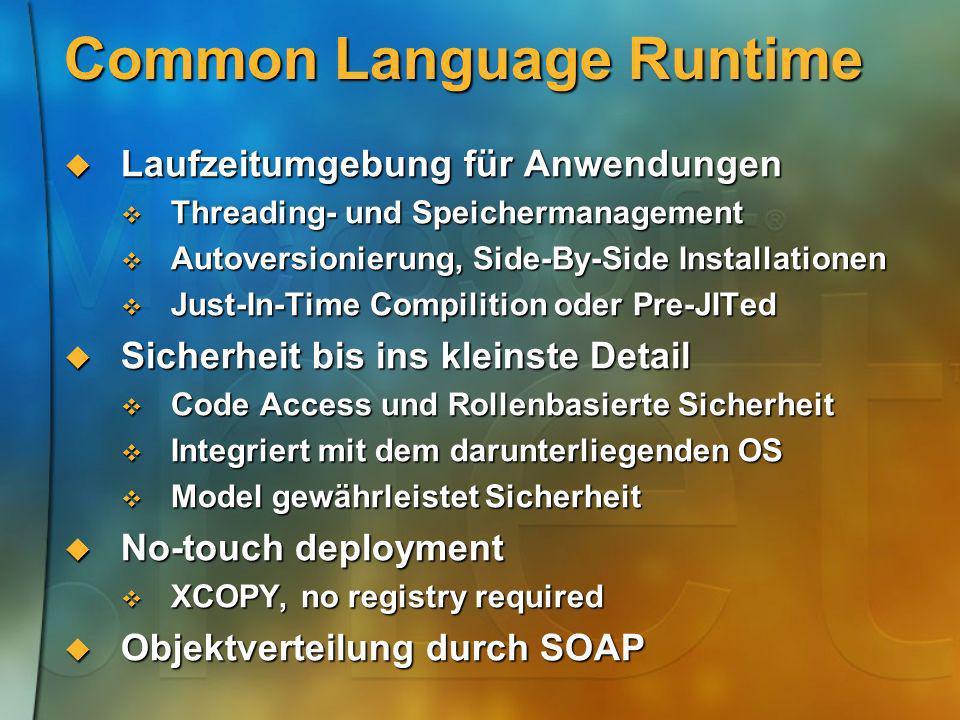 Common Language Runtime Laufzeitumgebung für Anwendungen Laufzeitumgebung für Anwendungen Threading- und Speichermanagement Threading- und Speicherman