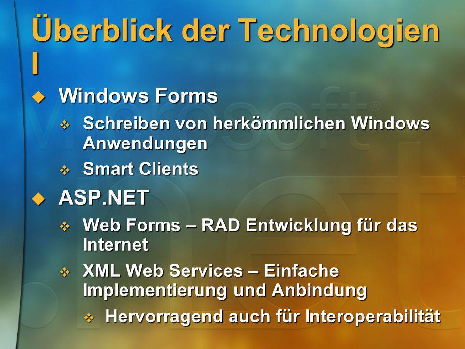 Überblick der Technologien I Windows Forms Windows Forms Schreiben von herkömmlichen Windows Anwendungen Schreiben von herkömmlichen Windows Anwendung