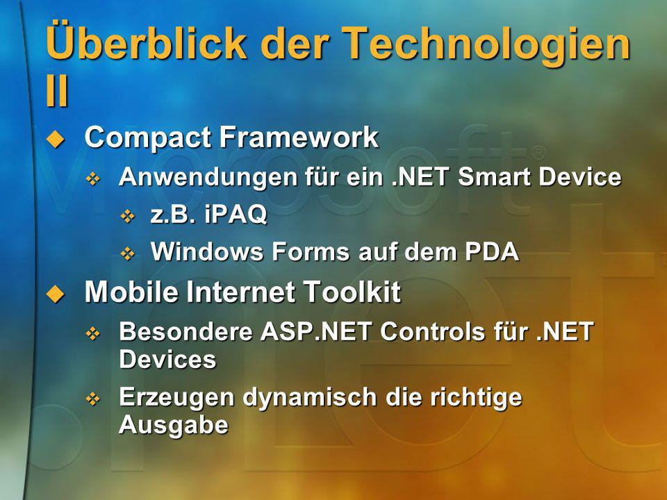 Überblick der Technologien II Compact Framework Compact Framework Anwendungen für ein.NET Smart Device Anwendungen für ein.NET Smart Device z.B. iPAQ