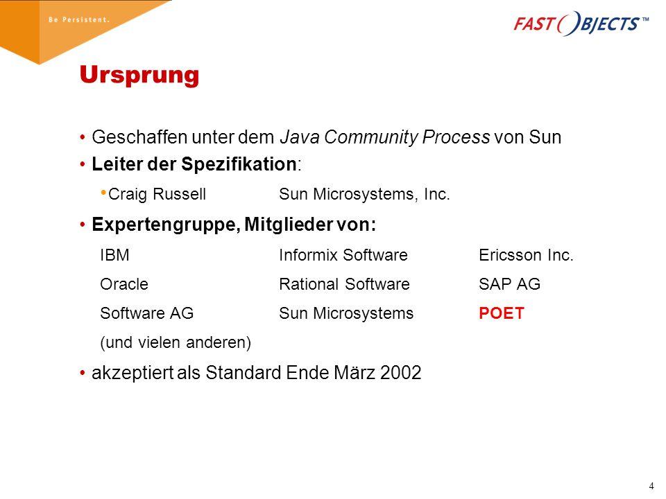 15 Beispiel: Speichern eines Objektes import javax.jdo.*; import com.poet.jdo.*; public class Main { public static void main(String[] args) { try{ PersistenceManagerFactory pmf= PersistenceManagerFactories.getFactory(); pmf.setConnectionURL( FastObjects://LOCAL/myBase ); PersistenceManager pm=pmf.getPersistenceManager(); pm.currentTransaction().begin(); pm.makePersistent(new Person( Donald Duck )); pm.currentTransaction().commit(); pm.close(); }catch(JDOUserException e){e.printStackTrace();} }
