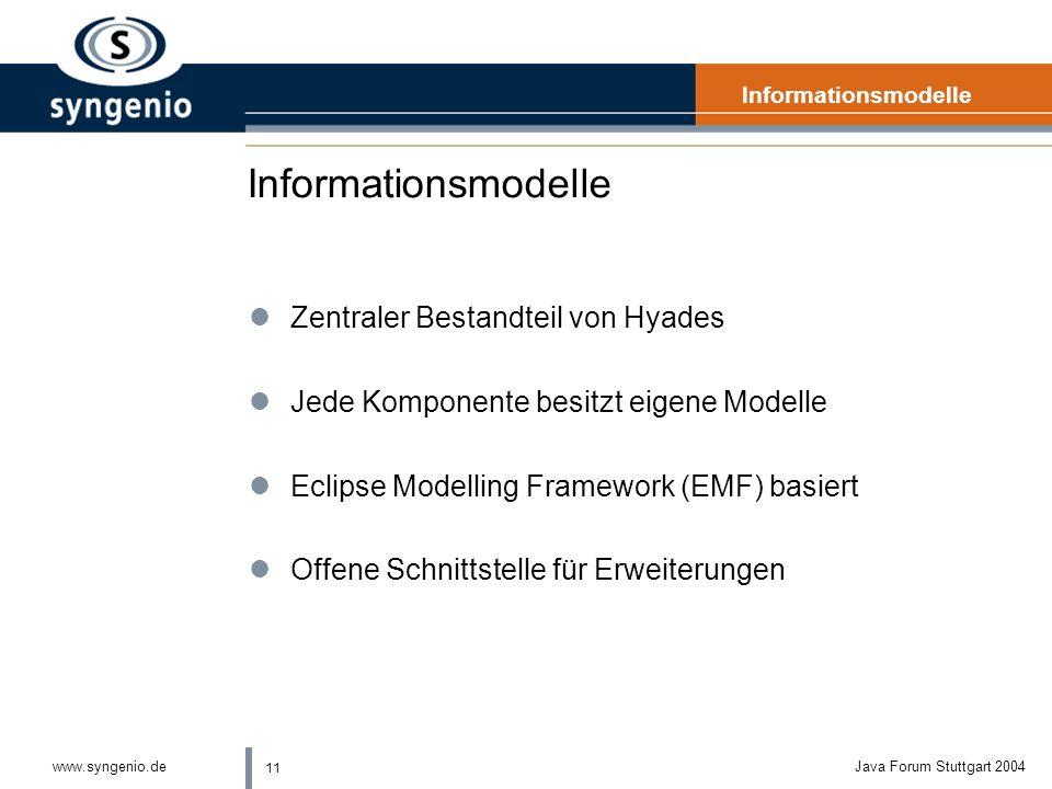 11 www.syngenio.deJava Forum Stuttgart 2004 Informationsmodelle lZentraler Bestandteil von Hyades lJede Komponente besitzt eigene Modelle lEclipse Modelling Framework (EMF) basiert lOffene Schnittstelle für Erweiterungen Informationsmodelle