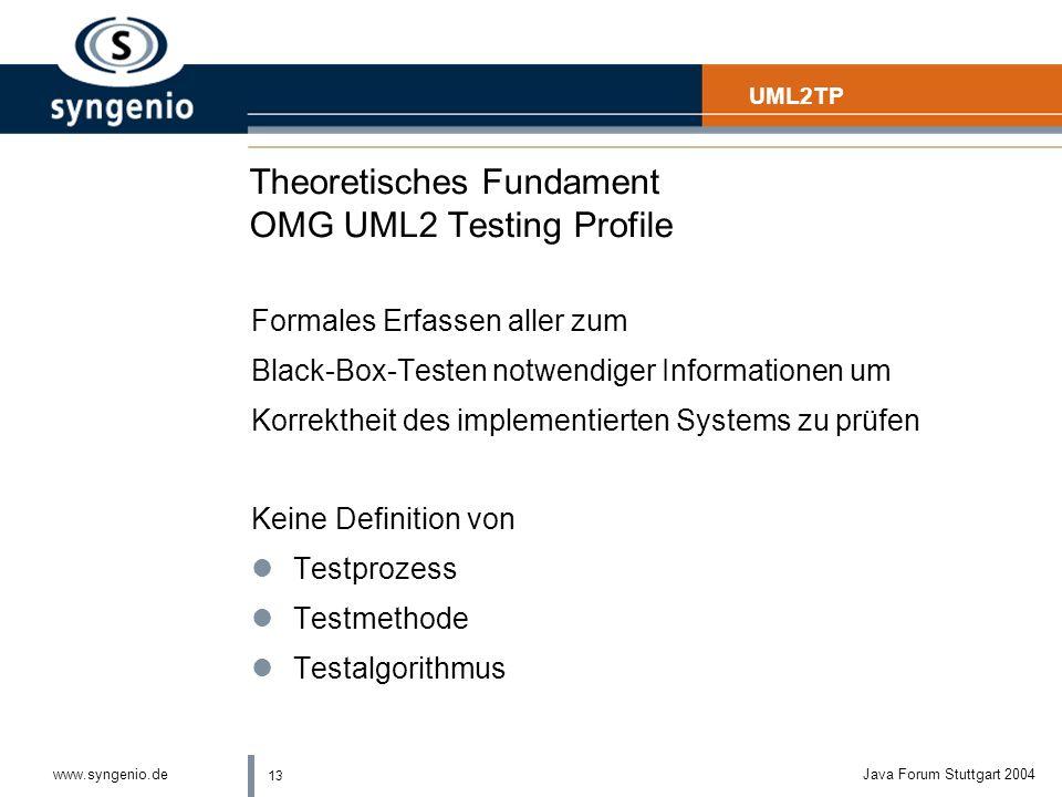 13 www.syngenio.deJava Forum Stuttgart 2004 Theoretisches Fundament OMG UML2 Testing Profile Formales Erfassen aller zum Black-Box-Testen notwendiger Informationen um Korrektheit des implementierten Systems zu prüfen Keine Definition von lTestprozess lTestmethode lTestalgorithmus UML2TP