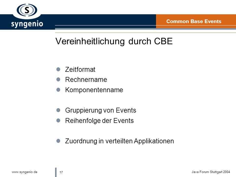 17 www.syngenio.deJava Forum Stuttgart 2004 Vereinheitlichung durch CBE lZeitformat lRechnername lKomponentenname lGruppierung von Events lReihenfolge der Events lZuordnung in verteilten Applikationen Common Base Events