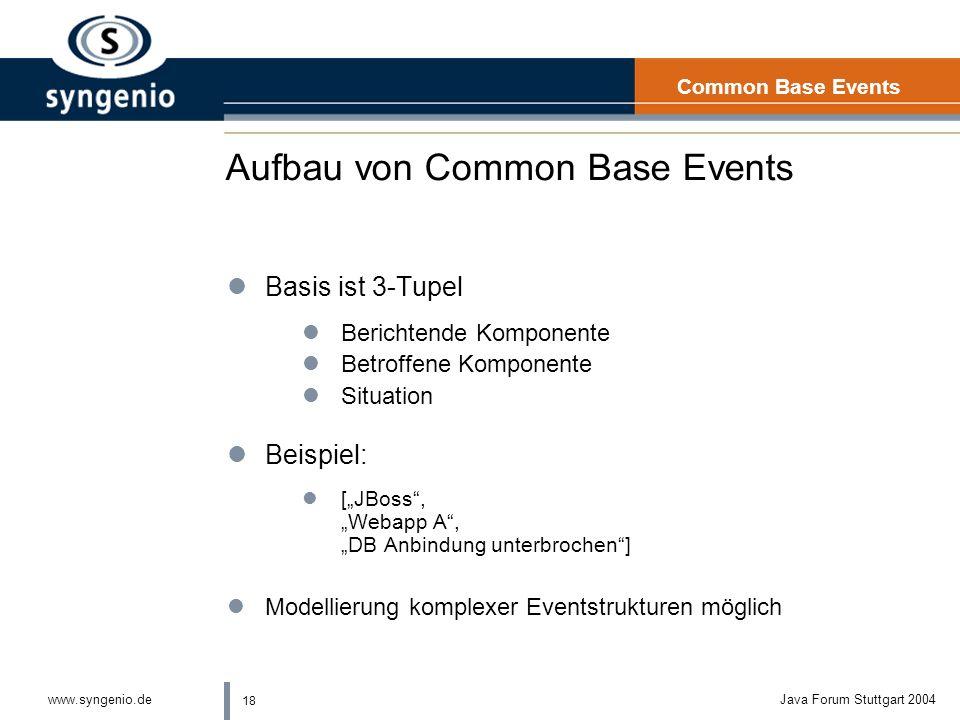 18 www.syngenio.deJava Forum Stuttgart 2004 Aufbau von Common Base Events lBasis ist 3-Tupel lBerichtende Komponente lBetroffene Komponente lSituation lBeispiel: l[JBoss, Webapp A, DB Anbindung unterbrochen] lModellierung komplexer Eventstrukturen möglich Common Base Events