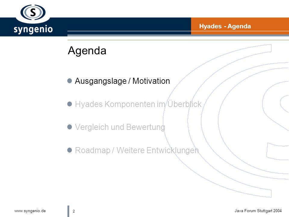 2 www.syngenio.deJava Forum Stuttgart 2004 Agenda lAusgangslage / Motivation lHyades Komponenten im Überblick lVergleich und Bewertung lRoadmap / Weitere Entwicklungen Hyades - Agenda