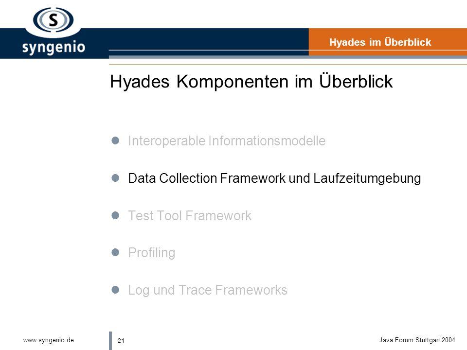 21 www.syngenio.deJava Forum Stuttgart 2004 Hyades Komponenten im Überblick Hyades im Überblick lInteroperable Informationsmodelle lData Collection Framework und Laufzeitumgebung lTest Tool Framework lProfiling lLog und Trace Frameworks
