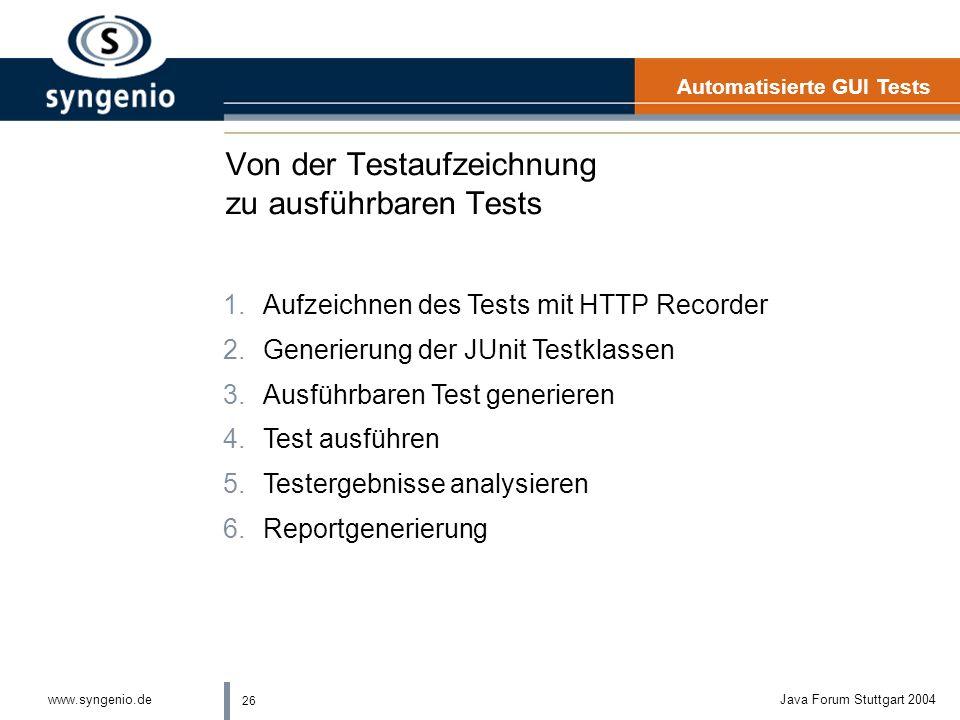 26 www.syngenio.deJava Forum Stuttgart 2004 Von der Testaufzeichnung zu ausführbaren Tests Automatisierte GUI Tests 1.Aufzeichnen des Tests mit HTTP Recorder 2.Generierung der JUnit Testklassen 3.Ausführbaren Test generieren 4.Test ausführen 5.Testergebnisse analysieren 6.Reportgenerierung