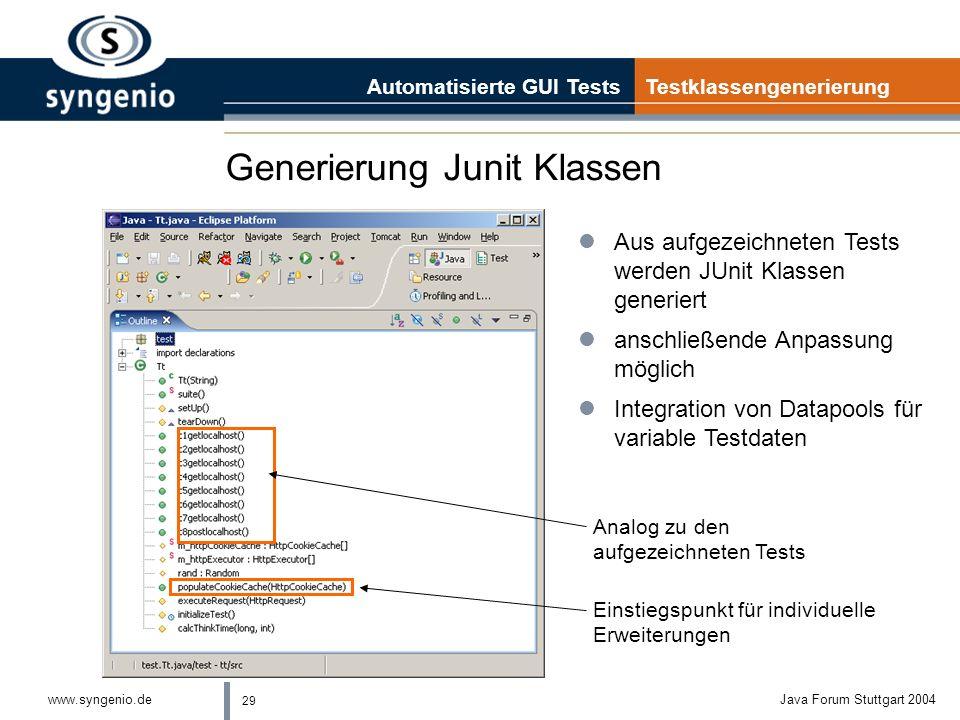 29 www.syngenio.deJava Forum Stuttgart 2004 Generierung Junit Klassen Automatisierte GUI Tests Testklassengenerierung lAus aufgezeichneten Tests werden JUnit Klassen generiert lanschließende Anpassung möglich lIntegration von Datapools für variable Testdaten Analog zu den aufgezeichneten Tests Einstiegspunkt für individuelle Erweiterungen