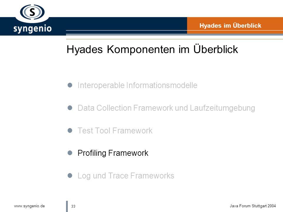 33 www.syngenio.deJava Forum Stuttgart 2004 Hyades Komponenten im Überblick Hyades im Überblick lInteroperable Informationsmodelle lData Collection Framework und Laufzeitumgebung lTest Tool Framework lProfiling Framework lLog und Trace Frameworks