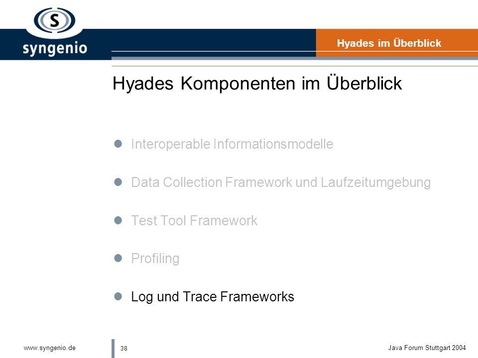 38 www.syngenio.deJava Forum Stuttgart 2004 Hyades Komponenten im Überblick Hyades im Überblick lInteroperable Informationsmodelle lData Collection Framework und Laufzeitumgebung lTest Tool Framework lProfiling lLog und Trace Frameworks