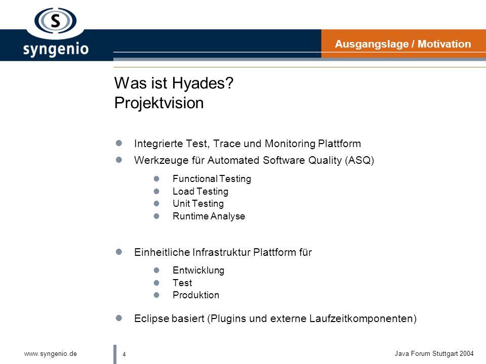 3 www.syngenio.deJava Forum Stuttgart 2004 Ausgangslage Software Qualität lUnterschiedliche Nutzer lEntwickler lFachliche Tester lPerformance-, Lastte