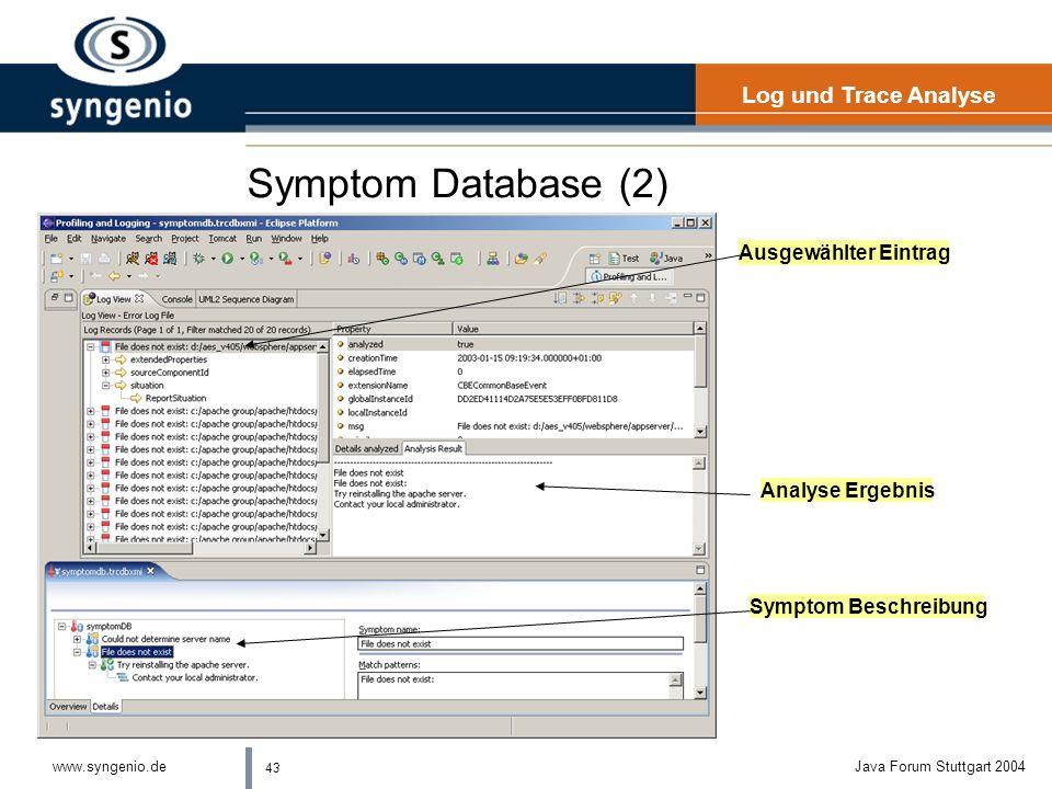 43 www.syngenio.deJava Forum Stuttgart 2004 Symptom Database (2) Log und Trace Analyse Ausgewählter Eintrag Analyse Ergebnis Symptom Beschreibung