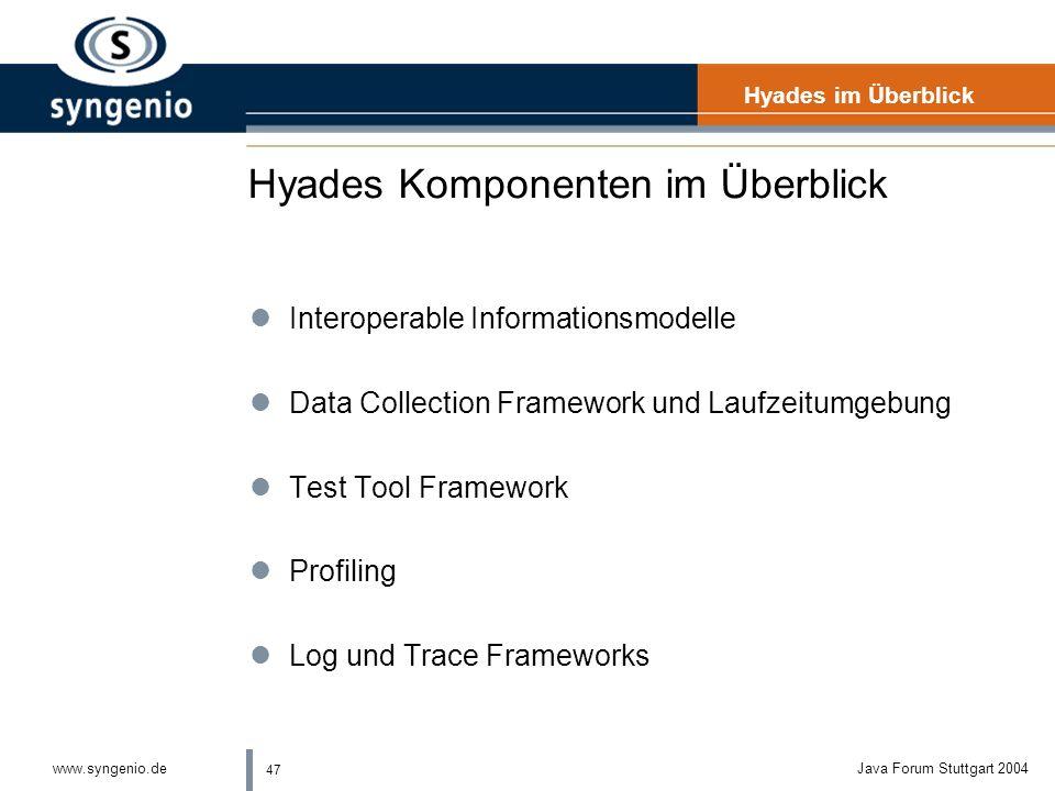 47 www.syngenio.deJava Forum Stuttgart 2004 Hyades Komponenten im Überblick Hyades im Überblick lInteroperable Informationsmodelle lData Collection Framework und Laufzeitumgebung lTest Tool Framework lProfiling lLog und Trace Frameworks