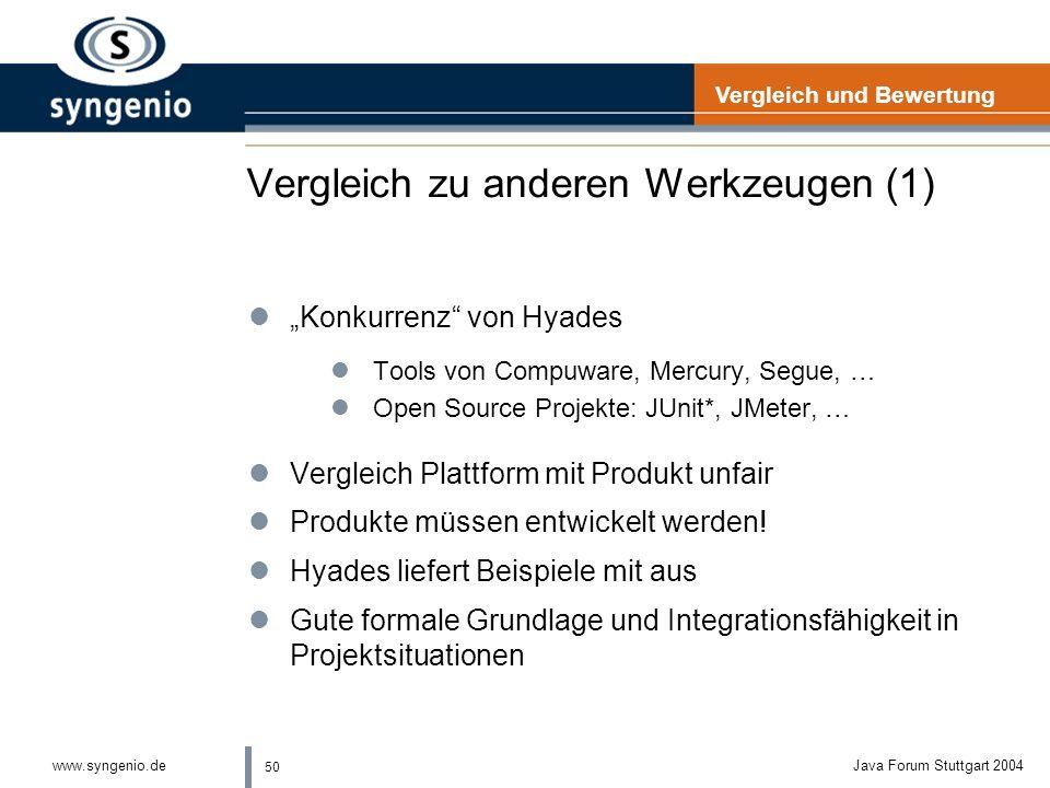50 www.syngenio.deJava Forum Stuttgart 2004 Vergleich zu anderen Werkzeugen (1) lKonkurrenz von Hyades lTools von Compuware, Mercury, Segue, … lOpen Source Projekte: JUnit*, JMeter, … lVergleich Plattform mit Produkt unfair lProdukte müssen entwickelt werden.