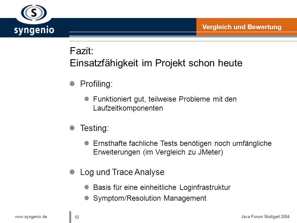 51 www.syngenio.deJava Forum Stuttgart 2004 Vergleich zu anderen Werkzeugen (2) Eclipse Hyades lEinheitliches Framework lOffen und erweiterbar (extens