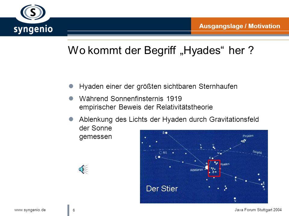 5 www.syngenio.deJava Forum Stuttgart 2004 Wer steckt dahinter ? lBegonnen Ende 2002 von IBM, Scapa Technologies, Rational Software, Parasoft und Tele
