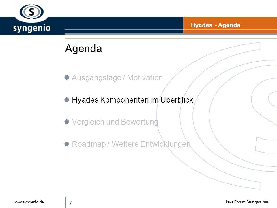 7 www.syngenio.deJava Forum Stuttgart 2004 Agenda lAusgangslage / Motivation lHyades Komponenten im Überblick lVergleich und Bewertung lRoadmap / Weitere Entwicklungen Hyades - Agenda