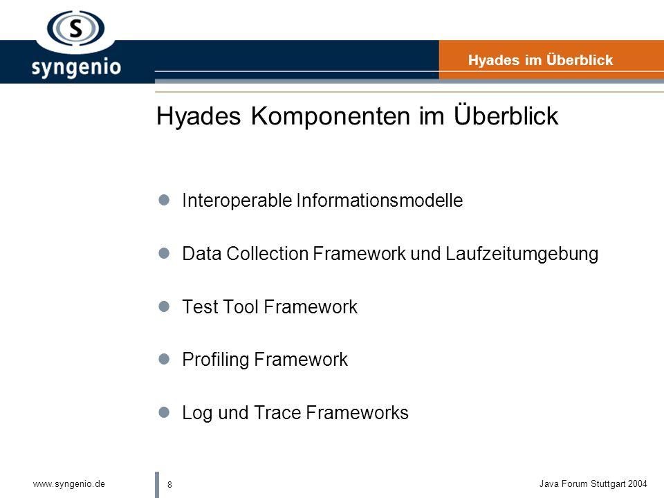 8 www.syngenio.deJava Forum Stuttgart 2004 Hyades Komponenten im Überblick Hyades im Überblick lInteroperable Informationsmodelle lData Collection Framework und Laufzeitumgebung lTest Tool Framework lProfiling Framework lLog und Trace Frameworks