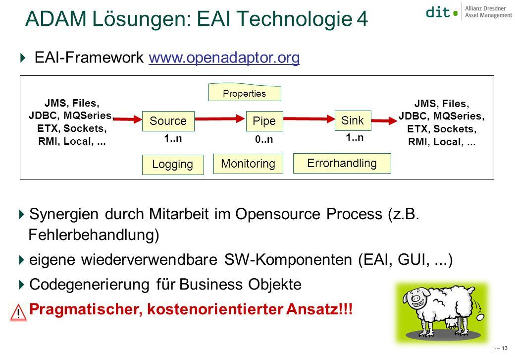 JFS 2003 – 13 EAI-Framework www.openadaptor.orgwww.openadaptor.org ADAM Lösungen: EAI Technologie 4 Synergien durch Mitarbeit im Opensource Process (z.B.