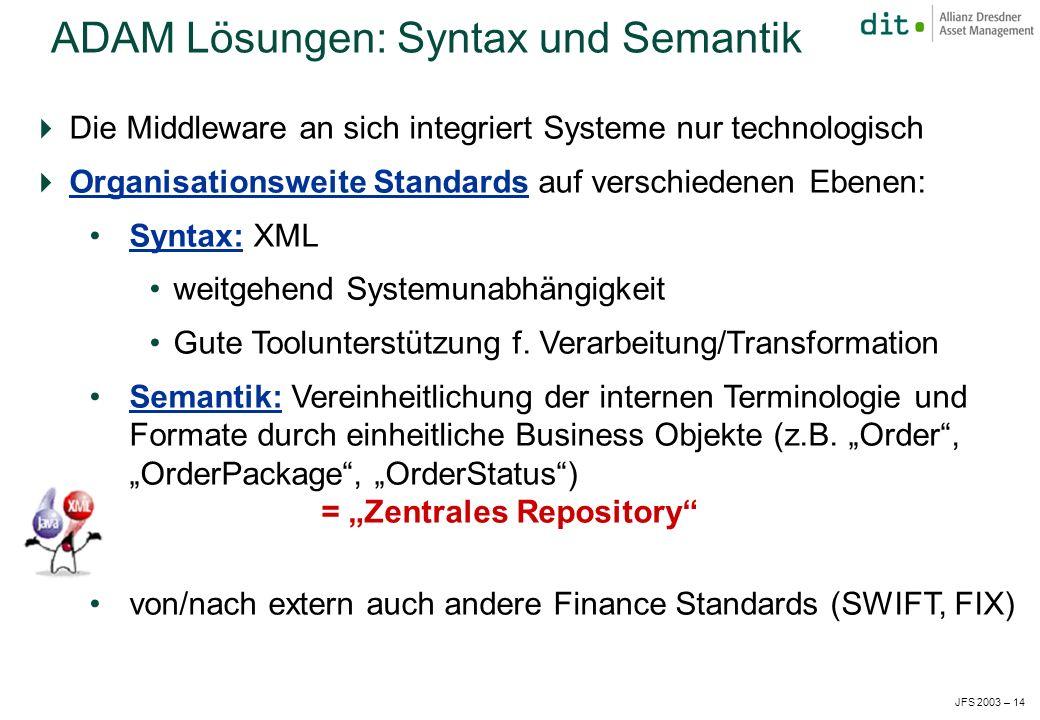 JFS 2003 – 14 Die Middleware an sich integriert Systeme nur technologisch Organisationsweite Standards auf verschiedenen Ebenen: Syntax: XML weitgehend Systemunabhängigkeit Gute Toolunterstützung f.