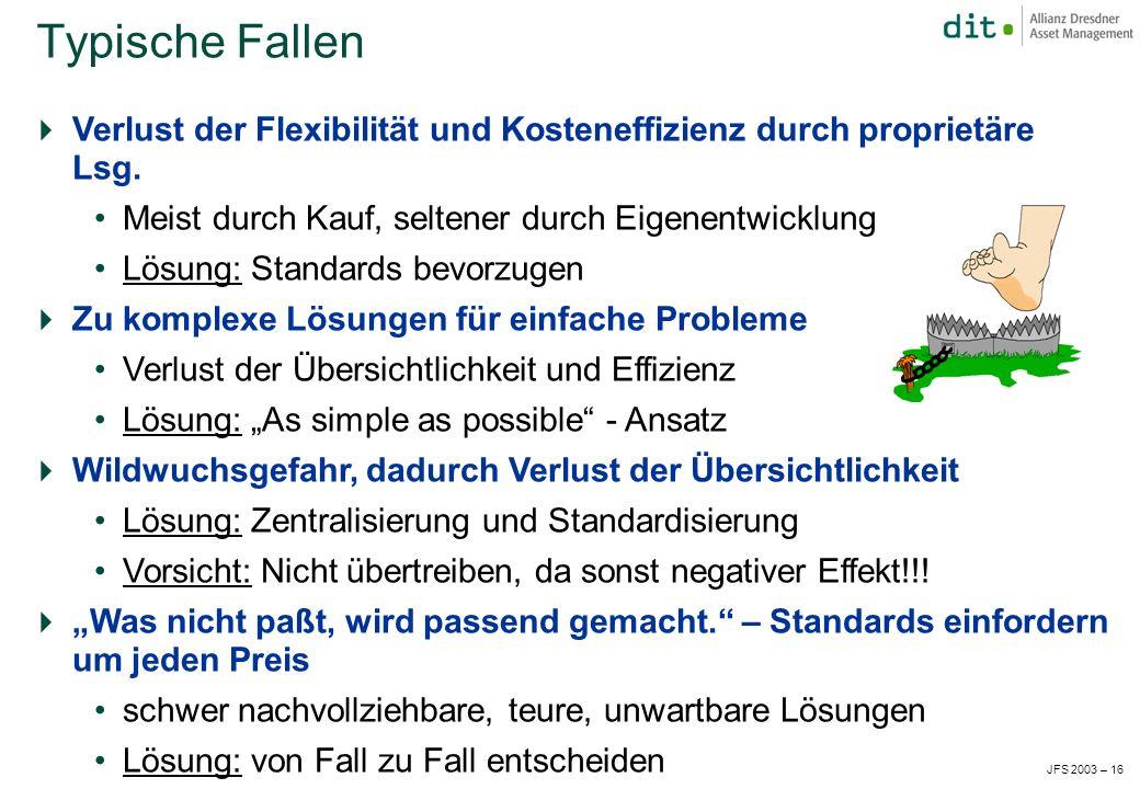 JFS 2003 – 16 Verlust der Flexibilität und Kosteneffizienz durch proprietäre Lsg.