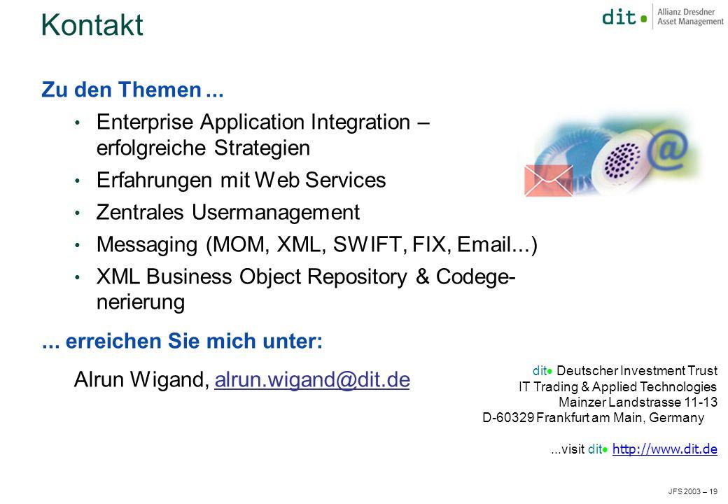 JFS 2003 – 19 Kontakt Zu den Themen...