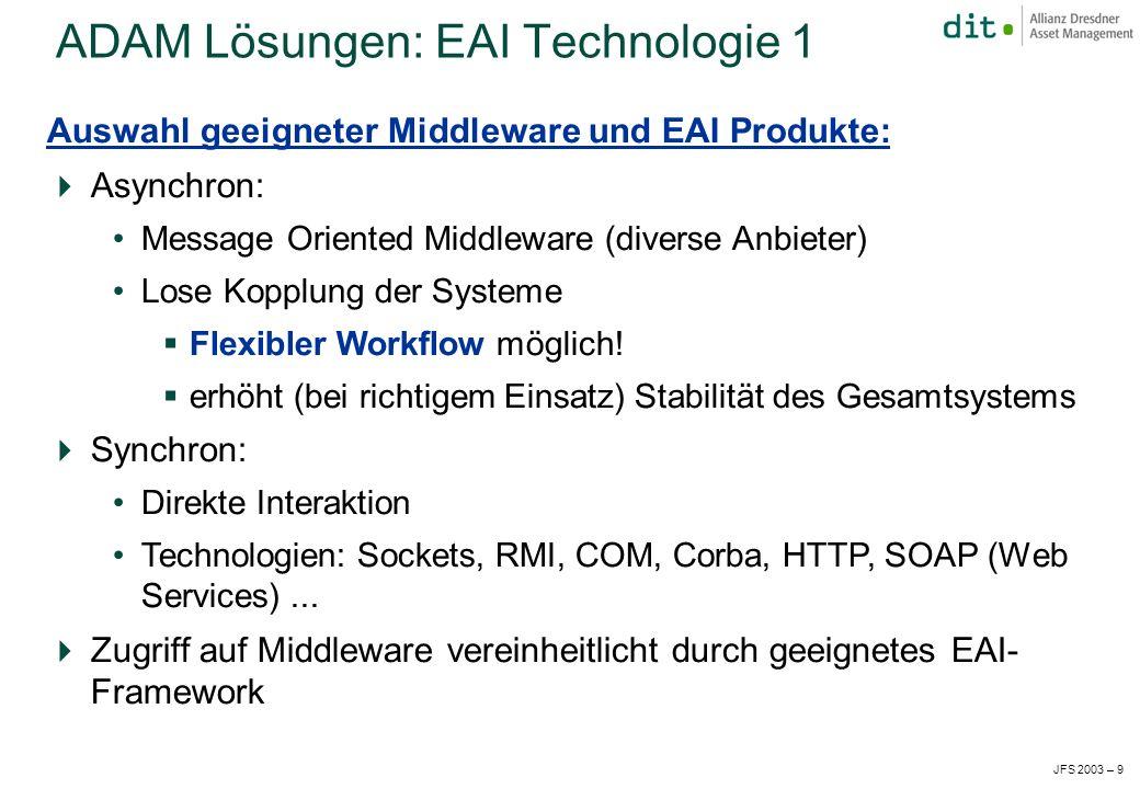 JFS 2003 – 9 Auswahl geeigneter Middleware und EAI Produkte: Asynchron: Message Oriented Middleware (diverse Anbieter) Lose Kopplung der Systeme Flexibler Workflow möglich.