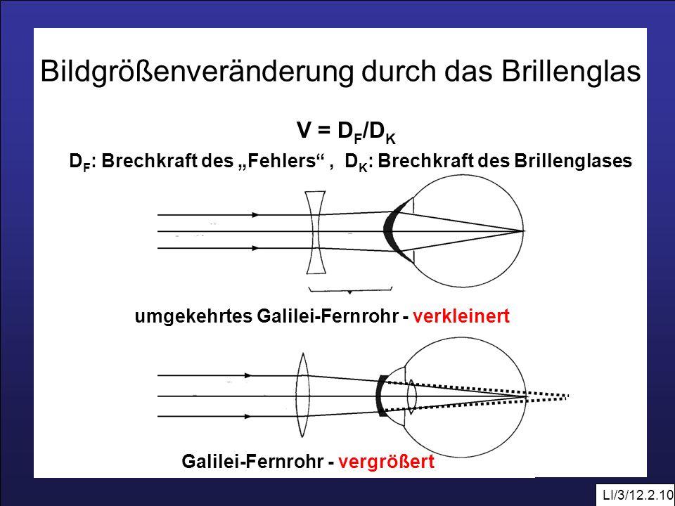 LI/3/12.2.10 Galilei-Fernrohr - vergrößert Bildgrößenveränderung durch das Brillenglas umgekehrtes Galilei-Fernrohr - verkleinert V = D F /D K D F : B