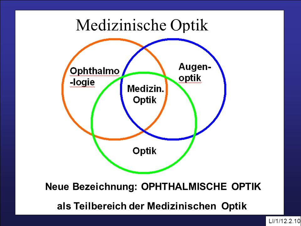 LI/1/12.2.10 Medizinische Optik Neue Bezeichnung: OPHTHALMISCHE OPTIK als Teilbereich der Medizinischen Optik