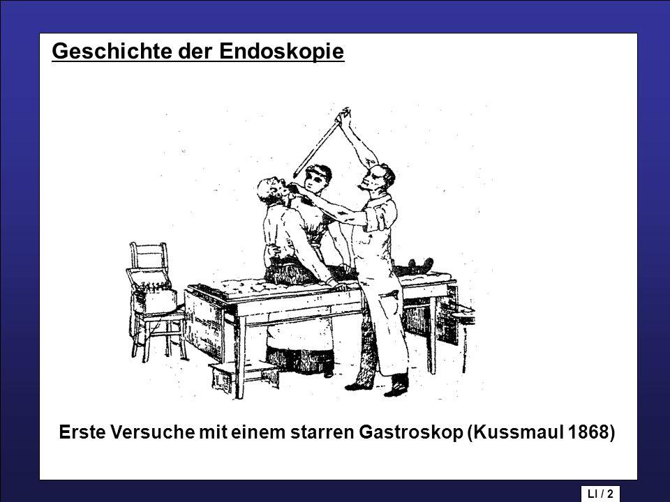 Geschichte der Endoskopie Erste Versuche mit einem starren Gastroskop (Kussmaul 1868) LI / 2 Geschichte der Endoskopie