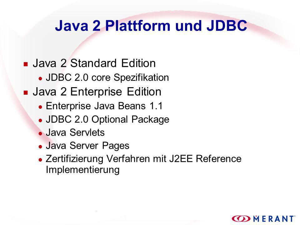 JDBC 2.0 Einführung Neue Features java.sql JDBC Core ( java.sql ) l Scrollable-Cursors Unterstützung l Neue Datentypen l Batch Updates javax.sql JDBC Optional Package ( javax.sql ) l Java Naming and Directory Interface (JNDI) l Connection Pooling l Verteilte Transaktionen l RowSets