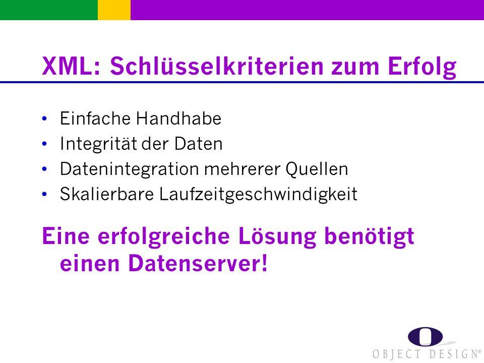 XML: Schlüsselkriterien zum Erfolg Einfache Handhabe Integrität der Daten Datenintegration mehrerer Quellen Skalierbare Laufzeitgeschwindigkeit Eine e