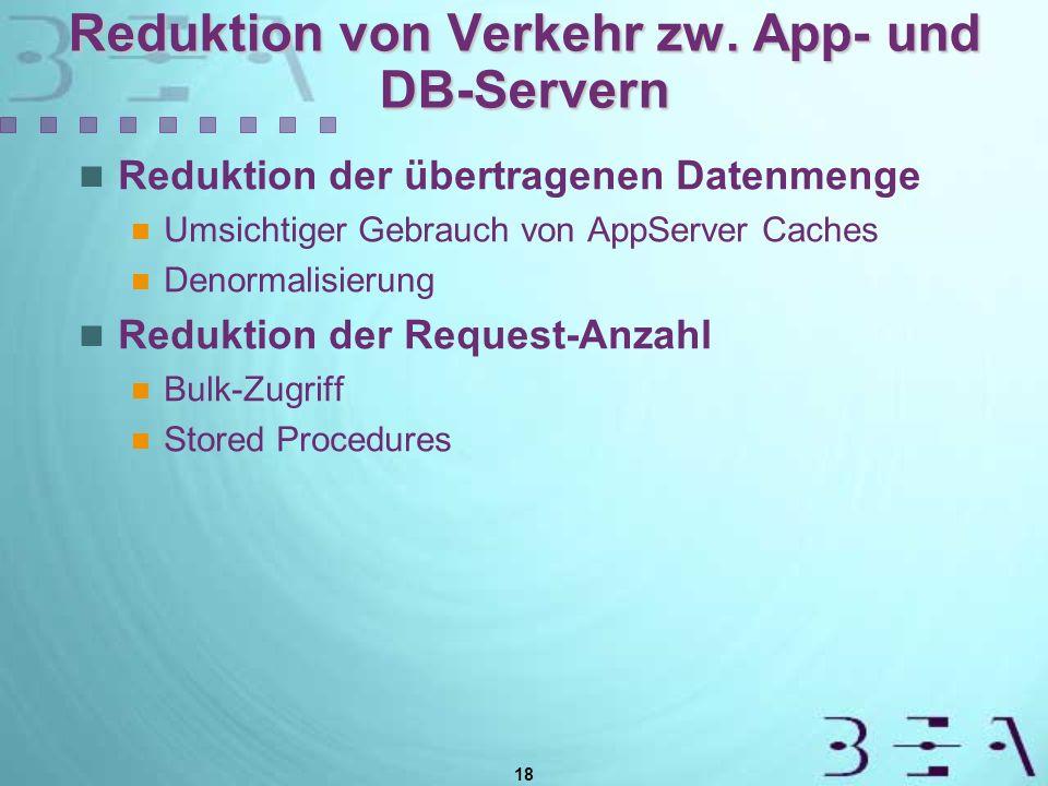 18 Reduktion von Verkehr zw. App- und DB-Servern Reduktion der übertragenen Datenmenge Umsichtiger Gebrauch von AppServer Caches Denormalisierung Redu