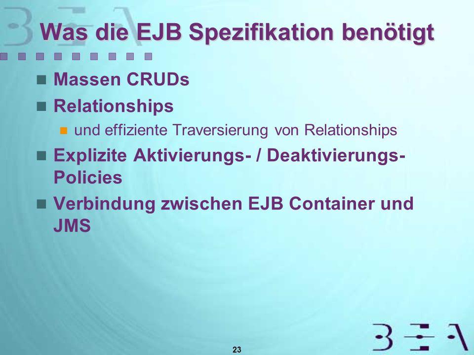 23 Was die EJB Spezifikation benötigt Massen CRUDs Relationships und effiziente Traversierung von Relationships Explizite Aktivierungs- / Deaktivierungs- Policies Verbindung zwischen EJB Container und JMS