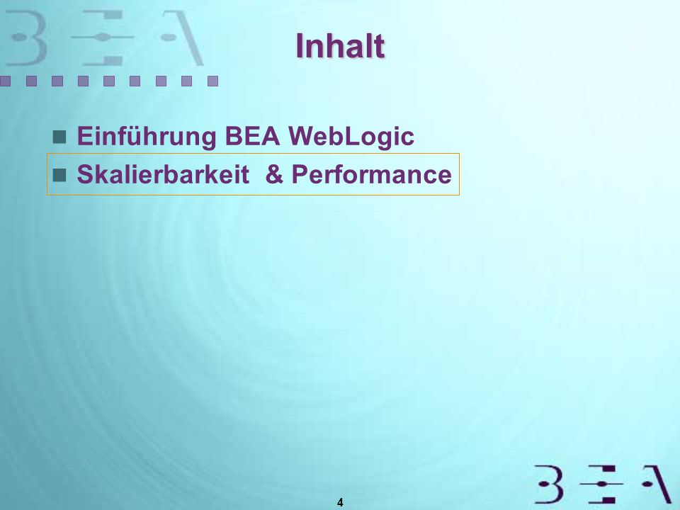 4 Inhalt Einführung BEA WebLogic Skalierbarkeit & Performance