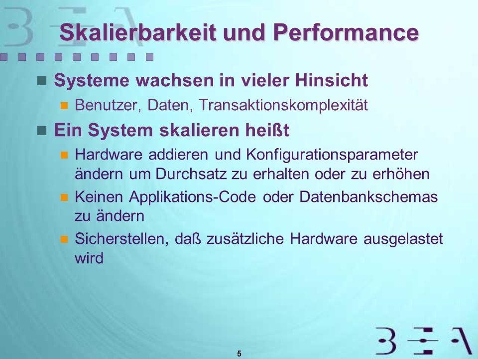 5 Skalierbarkeit und Performance Systeme wachsen in vieler Hinsicht Benutzer, Daten, Transaktionskomplexität Ein System skalieren heißt Hardware addieren und Konfigurationsparameter ändern um Durchsatz zu erhalten oder zu erhöhen Keinen Applikations-Code oder Datenbankschemas zu ändern Sicherstellen, daß zusätzliche Hardware ausgelastet wird