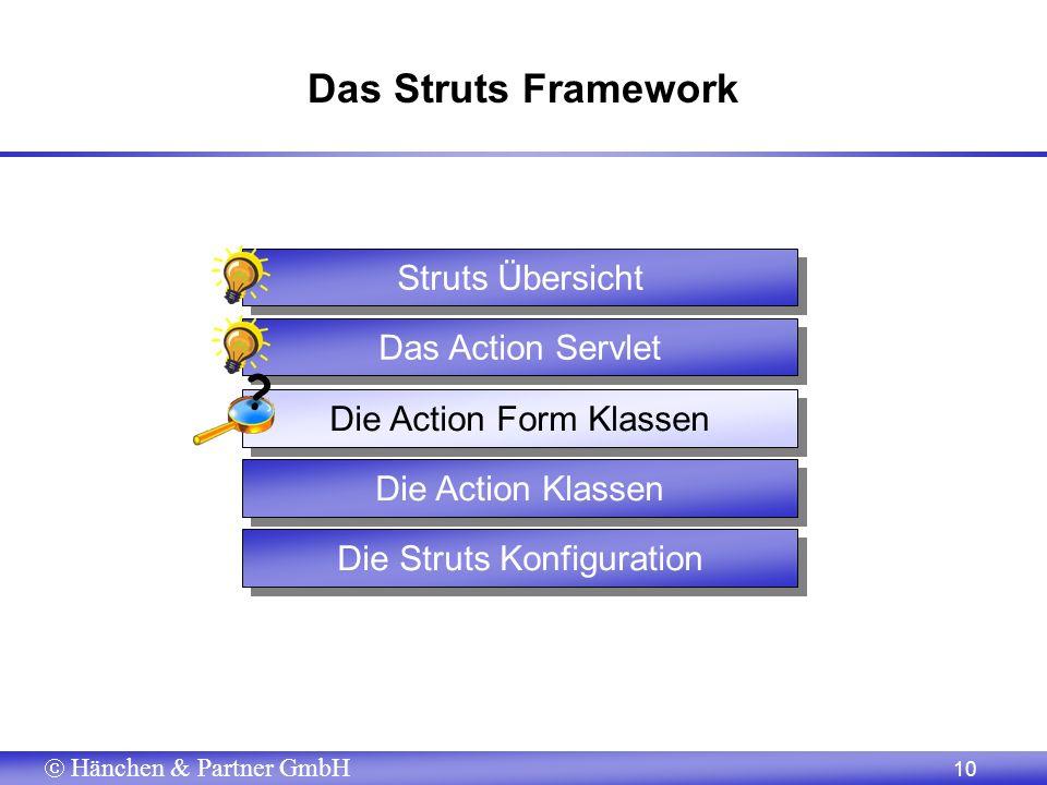 Hänchen & Partner GmbH 10 Das Struts Framework Die Action Klassen Die Struts Konfiguration Die Action Form Klassen Das Action Servlet Struts Übersicht ?