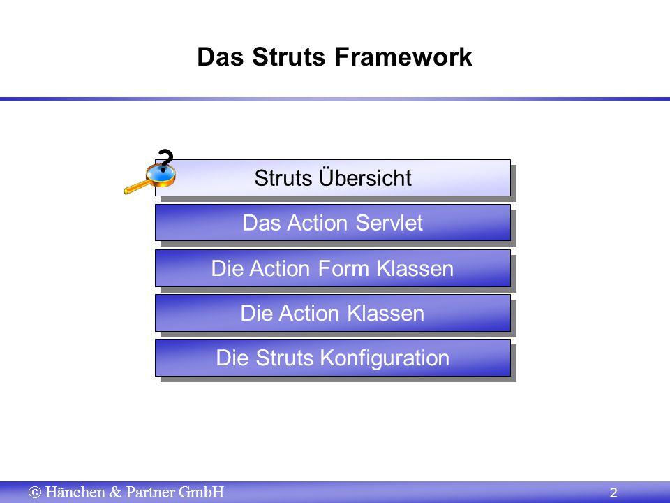 Hänchen & Partner GmbH 13 Validierung und Fehlerbehandlung (1) public class SimpleForm extends ActionForm { private String wohnort; private String name;......